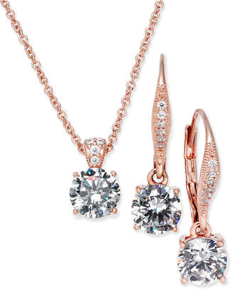 Danori Rose Gold-Tone Cubic Zirconia Solitaire Pendant Necklace and Matching Drop Earrings Set, Created for Macy's