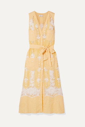Miguelina Alexia Belted Crochet-trimmed Linen Dress - Yellow