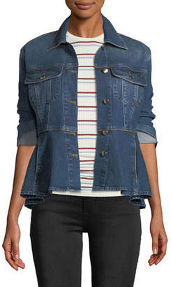 Frame Button-Front Flounce Denim Jacket