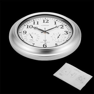 Hanyulore 18inch Waterproof Plastic Wall Clock Radio Movement Silvery Frame Clock Automatically Receive Signals Weather Forecast