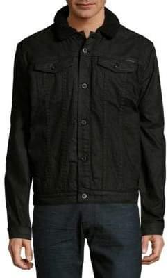 Calvin Klein Faux Fur Accented Button Front Cotton Jacket