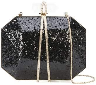 Marchesa glitter box clutch bag