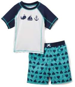 Little Boy's Come Sail Away Two-Piece Rash Guard and Swim Shorts Set