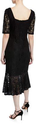 Nanette Lepore Nanette Lace Midi Sheath Flounce-Hem Dress
