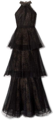 Tiered Point D'esprit And Lace Gown - Black