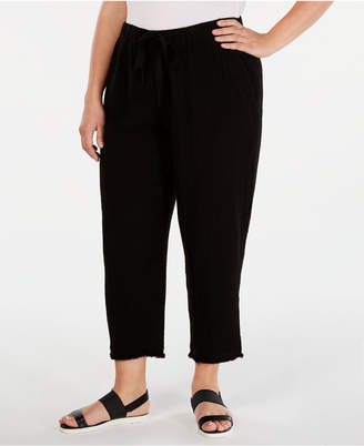 df3b29085fee2 Eileen Fisher Plus Size Organic Cotton Drawstring Cropped Pants