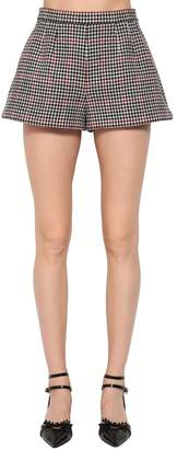 RED Valentino High Waist Wool Houndstooth Shorts