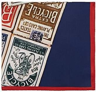 "Barneys New York Men's ""Bicycle"" Cards Silk Twill Pocket Square - Purple"