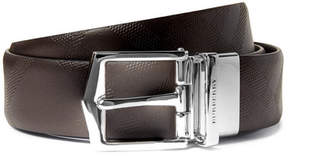 Burberry 3.5cm Reversible Dark-Brown And Black Embossed Leather Belt