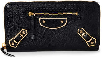 Balenciaga Black Classic Zip-Around Continental Wallet