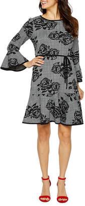 S.O.H.O New York Long Sleeve Plaid Fit & Flare Dress
