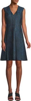 Elie Tahari Tameeka V-Neck Sleeveless Metallic Jacquard A-Line Dress