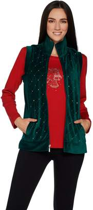 Factory Quacker Sparkle Velour Vest with Rhinestud Long Sleeve Tee