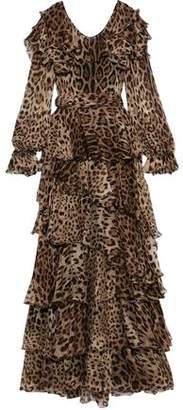 Dolce & Gabbana Belted Tiered Leopard-print Silk-chiffon Gown