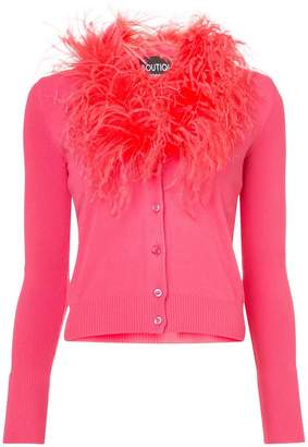 Moschino feather trim cardigan