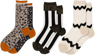 Hansel from Basel Set-Of-Three Crazy Printed Jersey Crew Socks