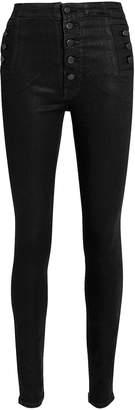 J Brand Natasha High Rise Black Coated Skinny Jeans