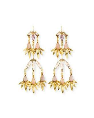 Sequin Tiered Pink Crystal Statement Earrings stzoQMKzz