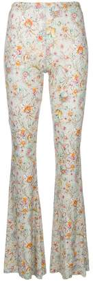 Black Coral floral print flared trousers
