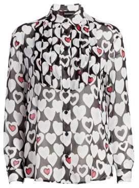 Emporio Armani Long Sleeve Heart Print Blouse