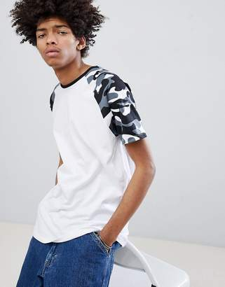 Bershka Raglan T-Shirt With Camo Sleeves In White
