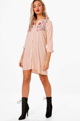 boohoo Boutique Embroidered Shift Dress