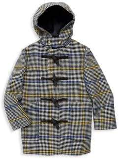 Burberry Little Girl's& Girl's Burford Houndstooth Check Wool& Cashmere Peacoat