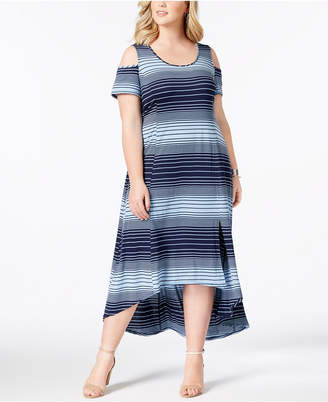 NY Collection Plus Size High-Low Cold-Shoulder Dress