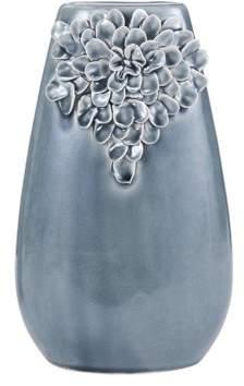 Element Fourteen Inch Gray Ceramic Floral Taper Vase