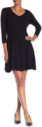 Magaschoni Philosophy Apparel V-Neck 3/4 Sleeve Rib Knit Dress