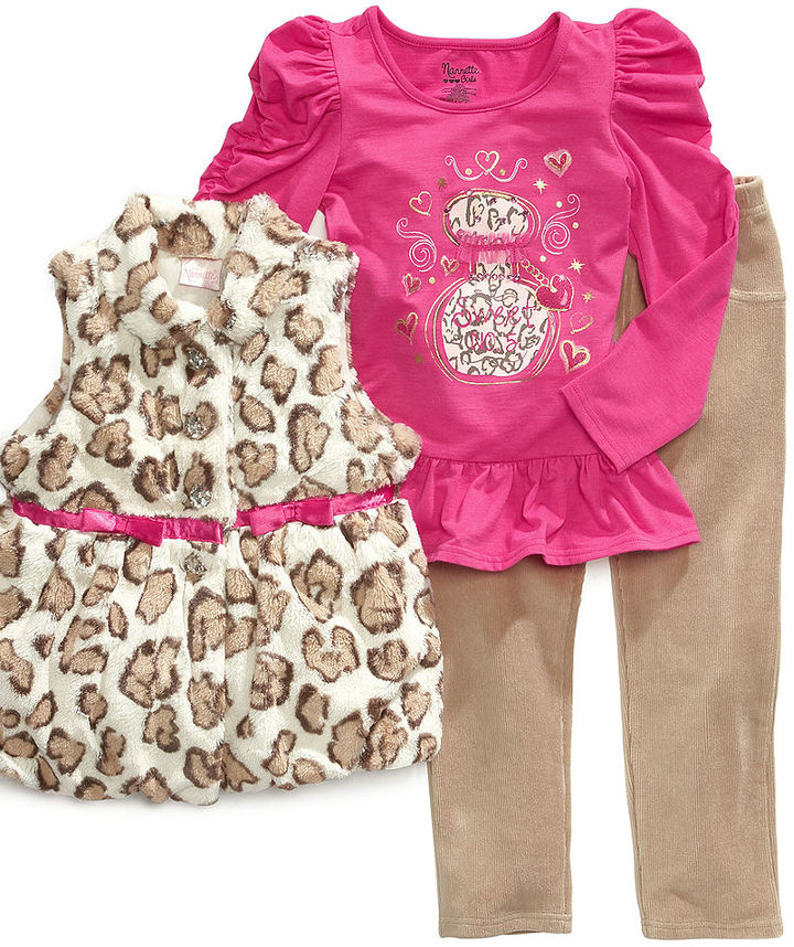 Nannette Baby Set, Baby Girls Sweet Perfume 3-Piece Vest, Shirt and Pants
