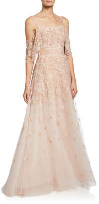 0f5a23860ff ZUHAIR MURAD Hibiscus Embroidered Cold-Shoulder Gown