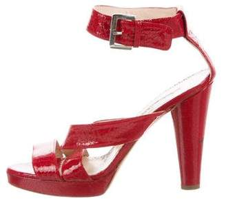 Oscar de la Renta Embossed Patent Leather Sandals