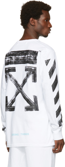 Off-White White Diagonal Brushed T-Shirt 4