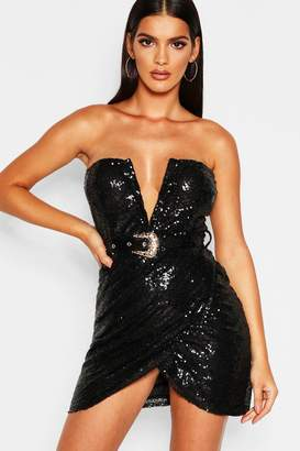 boohoo Sequin Bandeau Wrap Skirt Bodycon Dress
