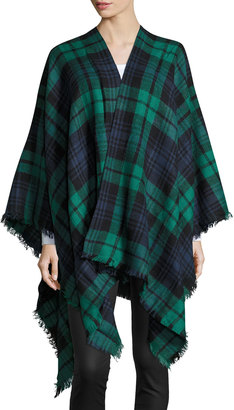 Raj Britni Ruana Plaid-Print Frayed Wrap, Green/Blue $45 thestylecure.com