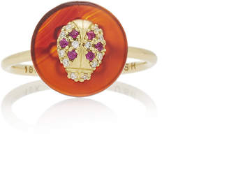Coexist Noush Jewelry Lady Bug On Carnelian Ring
