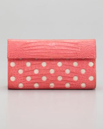 Nancy Gonzalez Crocodile Dot Clutch Bag, Pink