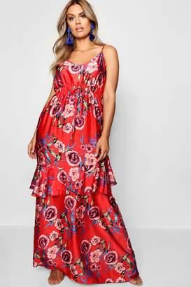 boohoo Plus Satin Drawstring Ruffle Maxi Dress