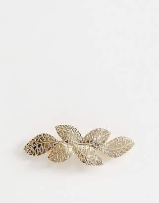 Asos Design DESIGN barette hair clip in leaf detail in gold