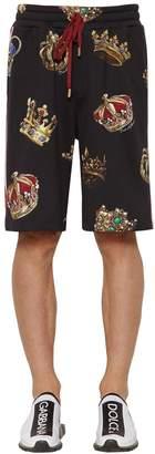 Dolce & Gabbana Crown Print Cotton Jersey Shorts