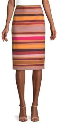 Lord & Taylor Petite Striped Midi Pencil Skirt