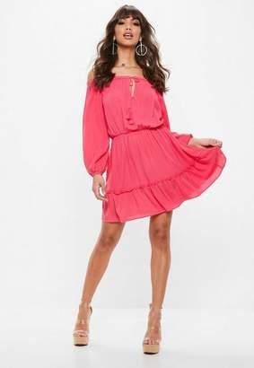 Missguided Pink Bardot Tassel Skater Dress