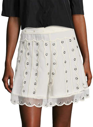 RED Valentino Silk Embroidered Eyelet A-Line Skirt