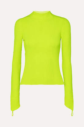 Adam Selman Neon Ribbed-knit Turtleneck Top - Chartreuse