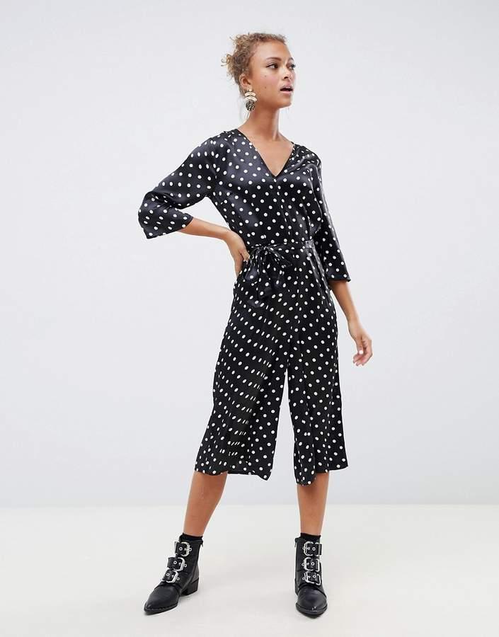 Influence polka dot satin print jumpsuit with tie waist
