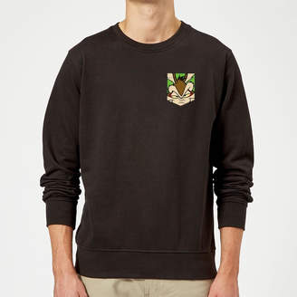 Looney Tunes Wile E Coyote Face Faux Pocket Sweatshirt