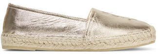 Saint Laurent Embossed Metallic Leather Espadrilles - Gold