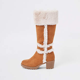River Island Girls tan faux suede fur calf boots