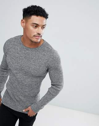 Asos DESIGN muscle fit ribbed sweater in black & white twist